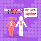 Vector concept on World AIDS Day. AIDS awareness.. Vector concept on World AIDS Day. The emblem of the people who hold hands, the red ribbon. Support and Stock Photo