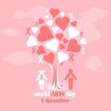 Vector concept on World AIDS Day. AIDS awareness. Vector poster about care and communication with with people with AIDS. Vector concept on World AIDS Day. The Royalty Free Stock Images