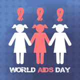 Vector concept on World AIDS Day. The emblem of the people who hold hands, the ribbon. Support and awareness about AIDS. Vector background Royalty Free Stock Photography