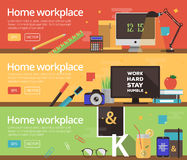 Vector concepts of home workplace design Royalty Free Stock Photos