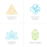 Vector concepts and logo design templates. In trendy linear style - alternative medicine, health centers and holistic treatment icons Royalty Free Stock Photo