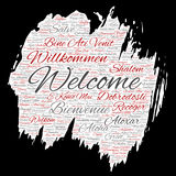 Vector conceptual abstract welcome or greeting international brush or paper word cloud in different languages or multilingual. Col Stock Images