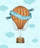 Vector conceptual art of hot air balloon with baggage. Concept of travel around the world. Phrase `the world is waiting`. Vector conceptual art of hot air stock illustration