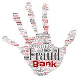 Vector bank fraud payment scam danger. Vector conceptual bank fraud payment scam danger hand print stampword cloud isolated background. Collage of password Royalty Free Stock Photography