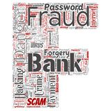 Vector bank fraud payment scam danger letter font F. Vector conceptual bank fraud payment scam danger letter font F word cloud isolated background. Collage of Royalty Free Stock Photos
