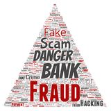 Vector bank fraud payment scam danger triangle. Vector conceptual bank fraud payment scam danger triangle arrow word cloud isolated background. Collage of Stock Photography