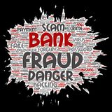 Vector conceptual bank fraud payment scam danger. Paint brush paper word cloud  background. Collage of password hacking, virus fake authentication, illegal Stock Images