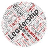 Vector business leadership strategy, management value. Vector conceptual business leadership strategy, management value round circle red word cloud isolated stock illustration