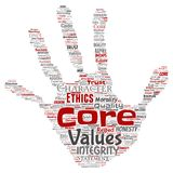 Vector core values integrity ethics hand print. Vector conceptual core values integrity ethics hand print stamp concept word cloud isolated background. Collage Royalty Free Stock Image