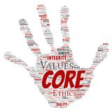 Vector core values integrity ethics hand print. Vector conceptual core values integrity ethics hand print stamp concept word cloud isolated background. Collage stock illustration