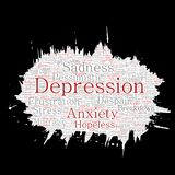 Vector conceptual depression or mental emotional disorder problem paint brush or paper word cloud isolated background. Collage of Stock Images