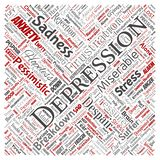 Vector depression or mental emotional disorder problem. Vector conceptual depression or mental emotional disorder problem square red word cloud isolated royalty free illustration