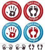 Vector conceptual feet and hand signs (set). Royalty Free Stock Photography