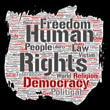 Vector human rights political freedom, democracy. Vector conceptual human rights political freedom, democracy paint brush paper word cloud isolated background Stock Images