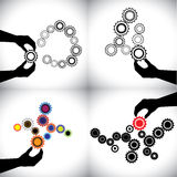 Vector conceptual icons of gears together Stock Image