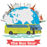 Vector conceptual illustration - The Bus Tour of Europe and popular familiar landmarks. Stock Photography