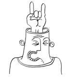 Vector conceptual illustration of rocker. Monochrome hand drawn Stock Image