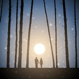 Lovers in forest at sunset stock illustration