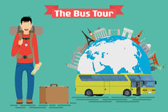 Vector conceptual illustration - Tourist goes to The Bus Tour of Europe and popular familiar landmarks. Stock Photos
