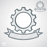 Vector conceptual industry system design element, cog wheel, gear with a decorative curvy ribbon. Stock Images