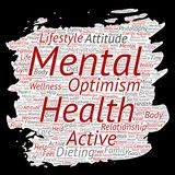 Vector conceptual mental health or positive thinking paint brush paper word cloud isolated background. Collage of optimism, psycho Royalty Free Stock Photography