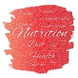 Vector nutrition health diet paint brush word cloud Stock Images