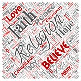 Vector religion, god, faith, spirituality. Vector conceptual religion, god, faith, spirituality square red word cloud background. Collage of worship, love stock illustration