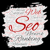 Vector conceptual search results engine optimization top rank, seo brush or paper online internet word cloud text isolated on back Stock Image