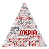 Vector social media networking or communication. Vector conceptual social media networking or communication web marketing technology triangle arrow word cloud Royalty Free Stock Photo