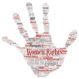 Vector women rights, equality, free-will hand print stamp. Vector conceptual women rights, equality, free-will hand print stamp word cloud isolated background vector illustration