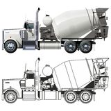Vector concrete mixer truck Stock Image