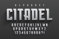 Vector condensed original display font design, alphabet, charact. Er set. Swatch color control Stock Photo