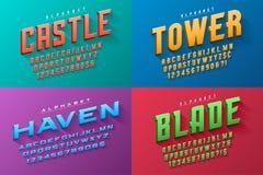 Vector condensed original display set of fonts design, alphabet. Character set. Easy swatch color control vector illustration