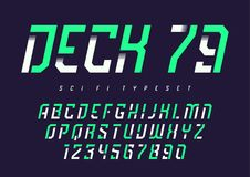 Vector condensed retro display font design, alphabet, character. Set, typeface, typography, letters and numbers with rounded corners. Swatch color control Royalty Free Stock Image