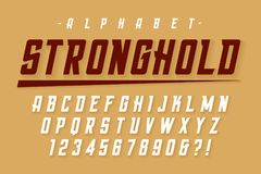 Vector condensed strong display font design, alphabet, character royalty free illustration