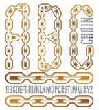 Vector condensed, tall font. Trendy typescript can be used in ar. T creation. Upper case creative letters, abc  made with steel chain link, joined link Royalty Free Stock Photography