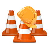 Vector Cones with Helmet Stock Image