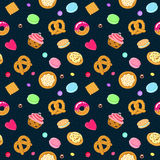 Vector confection and sweets seamless pattern with pastries, candies, pretzels and muffin Royalty Free Stock Photos