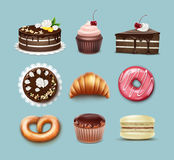 Vector confectionery set. Chocolate puff cake, french croissant, pretzel, cupcake with whipped cream and cherry, muffin, macaron top, side view isolated on blue stock illustration