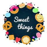 Vector confections and sweets background and card with pastries, candies, pretzels and muffin Stock Image