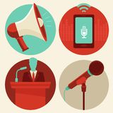 Vector conference icons in flat style Royalty Free Stock Photography