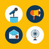 Vector conference icons in flat style Royalty Free Stock Photos