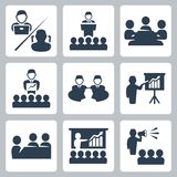 Vector conference, meeting icons set royalty free illustration