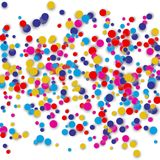 Vector confetti background with many round tiny confetti pieces concentrated in the center. Confetti with transparent background Royalty Free Stock Photo