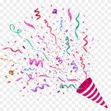 Vector confetti. Festive illustration. Party popper  on checkered background. Vector confetti illustration. Festive illustration. Party popper  on checkered Stock Image