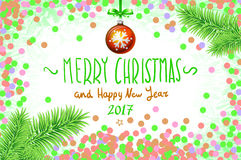 Vector confetti on the table, a hand-written inscription merry christmas. Christmas card with confetti and ribbons. Vector illustration EPS 10 vector illustration