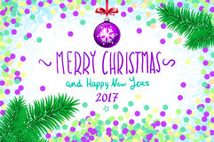 Vector confetti on the table, a hand-written inscription merry christmas and happy new year 2017, christmas tree branch Christmas. Merry Christmas and Happy New Stock Images