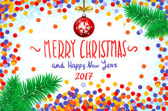 Vector confetti on the table, a hand-written inscription merry christmas and happy new year 2017, christmas tree branch Christmas Stock Images