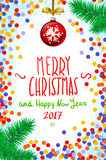 Vector confetti on the table, a hand-written inscription merry christmas and happy new year 2017, christmas tree branch Christmas. Merry Christmas and Happy New Royalty Free Stock Images