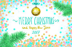 Vector confetti on the table, a hand-written inscription merry christmas and happy new year 2017, christmas tree branch Christmas. Ball art Royalty Free Stock Image